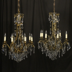 Italian Pair Gilded 16 Light Antique Chandeliers