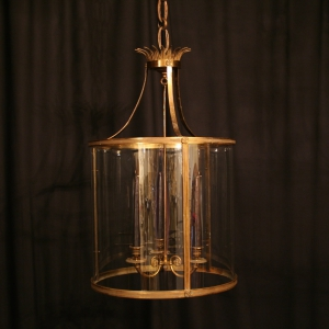 French Large Gilded Antique Hall Lantern