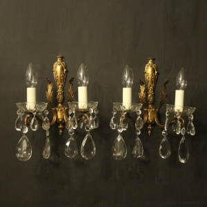 Italian Pair Of Gilded Twin Arm Wall Lights