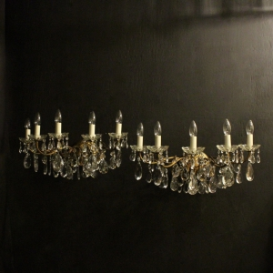 Italian Pair Of Large Five Arm Wall Lights