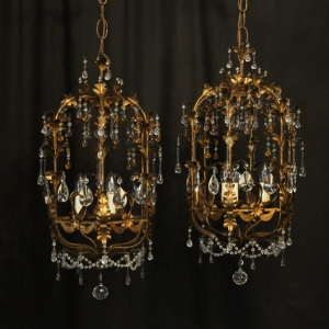 Florentine Pair Of Triple Light Cage Chandeliers