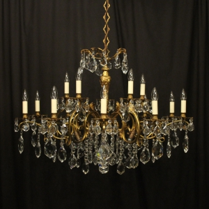 Italian Gilt Bronze 15 Light Antique Chandelier