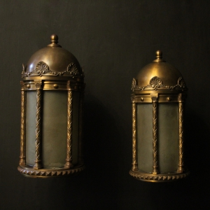 English Pair Of Bronze Antique Wall Lanterns