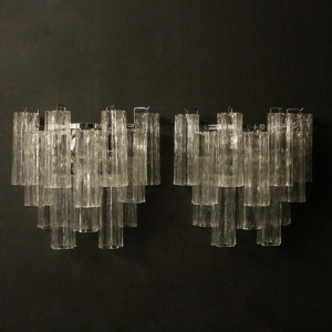 Italian Pair Murano Tronchi Twin Wall Lights
