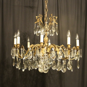 English Pair Of Brass 10 Light Chandeliers