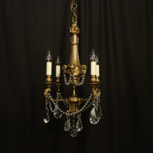 French Gilded Bronze Four Light Chandelier