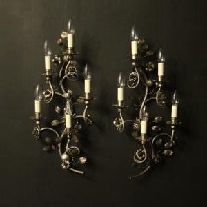 Italian Silver Genoa Five Arm Wall Lights