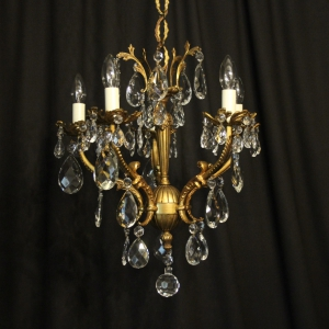 Italian Bronze & Crystal 5 Light Chandelier