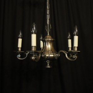 English Silver 5 Light Antique Chandelier