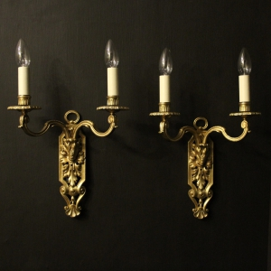 French Pair Of Silver Triple Arm Wall Lights
