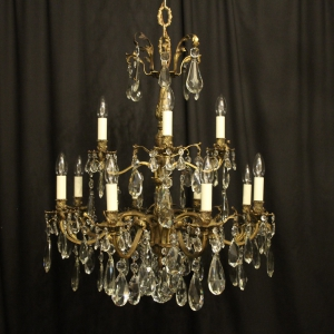 Italian Gilt Bronze 12 Light Antique Chandelier