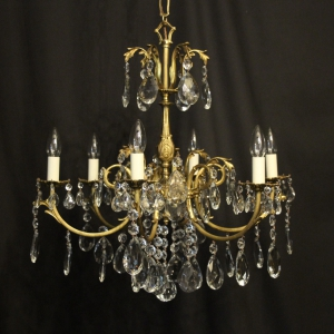 French Bronze & Crystal 6 Light Chandelier