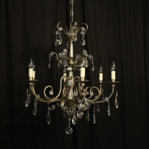 Italian Silver & Crystal Genoa 6 Light Chandelier