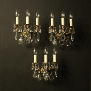 Italian Set Of 3 Gilded Triple Arm Wall Lights