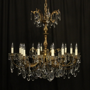 Italian Gilded Bronze 16 Light Antique Chandelier