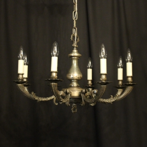 French Silver Plated 8 Light Antique Chandelier