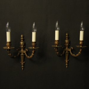 French Gilded Twin Arm Antique Wall Lights