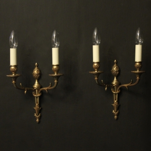 French Bronze Pair Of Twin Arm Wall Lights