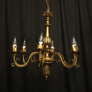French Giltwood & Toleware Chandelier