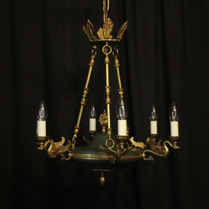French Gilded Empire 6 Light Chandelier