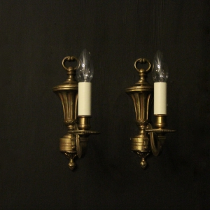 French Pair Of Gilded Single Arm Wall Lights