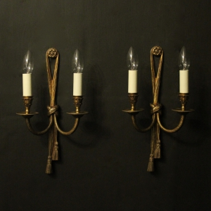 French Pair Of Gilded Brass Rope Wall Lights