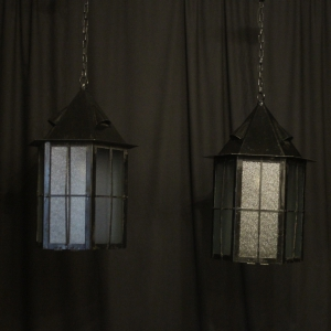 English Pair Of Wrought Iron External Lanterns