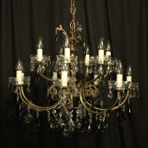 Italian 14 Light Silver Antique Chandelier