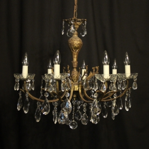 Italian Gilded Brass 8 Light Chandelier