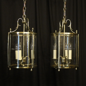 French Pair Of Brass Convex Hall Lanterns