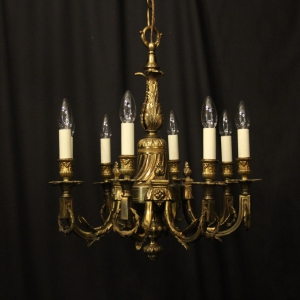 Italian Gilt Bronze 6 Light Antique Chandelier