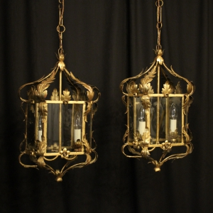 Italian Pair Of Florentine Twin Light Lanterns