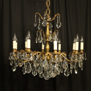 Italian Gilded 10 Light Antique Chandelier