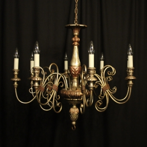 Italian Florentine 6 Light Silver Chandelier
