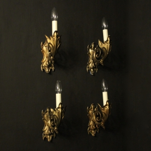 French Set Of 4 Bronze Single Arm Wall Lights