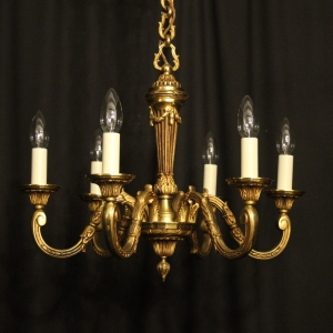 French Gilded & Crystal 6 Light Chandelier