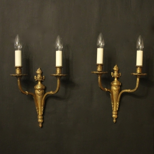 French Twin Arm Gilded Brass Antique Lights