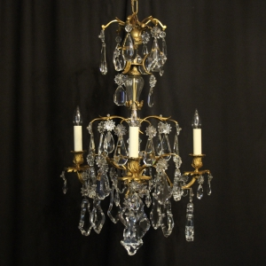 French Triple Light Bronze Antique Chandelier