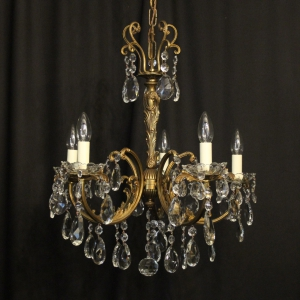 Italian Gilded Brass 5 Light Antique Chandelier