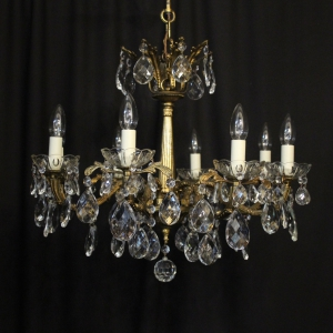 Italian Gilded Brass 8 Light Antique Chandelier