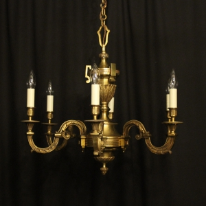 French Gilded Bronze 6 Light Chandelier