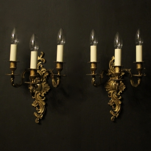 French Pair Of Triple Arm Antique Wall Sconces