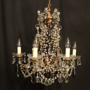 Italian Florentine Six Light Antique Chandelier