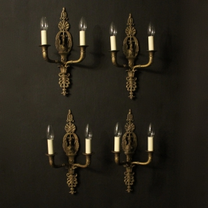 French Set Of 4 Empire Twin Arm Wall Lights