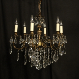Italian 6 Light Gilded Antique Chandelier
